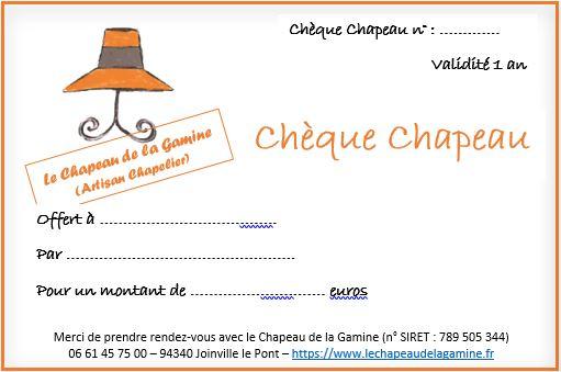 chèque chapeau - bon cadeau pour offrir un chapeau en cadeau